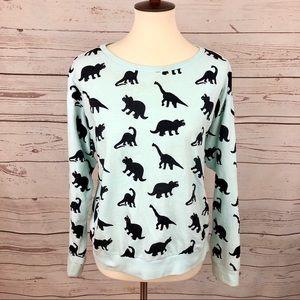 H&M Divided Mint Green Dinosaur Print Sweatshirt